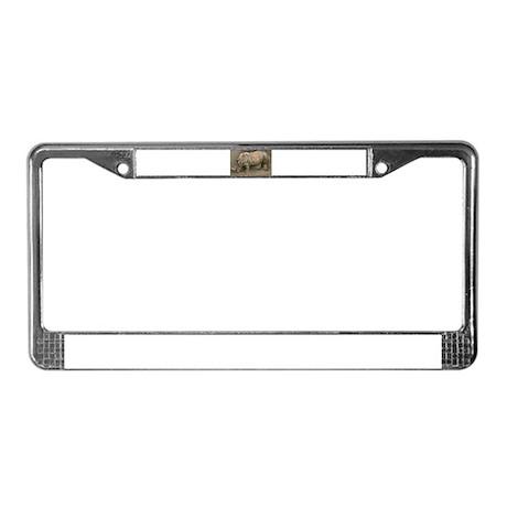 Old Rhino License Plate Frame