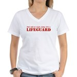 Feel Safe with a Lifeguard Women's V-Neck T-Shirt