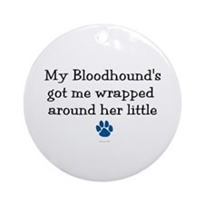 Wrapped Around Her Paw (Bloodhound) Ornament (Roun