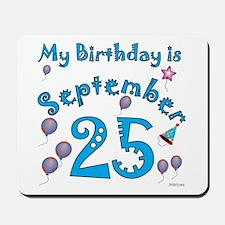 September 25th Birthday Mousepad