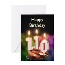 110th birthday, Candles on a birthday cake Greetin