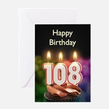 108th birthday, Candles on a birthday cake Greetin