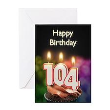 104th birthday, Candles on a birthday cake Greetin