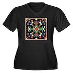 Folkart Women's Plus Size V-Neck Dark T-Shirt