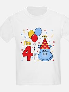 Blue Hippo Face 4th Birthday T-Shirt