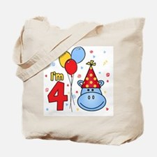 Blue Hippo Face 4th Birthday Tote Bag