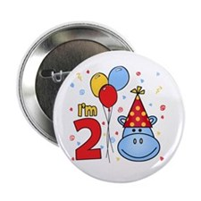 "Blue Hippo Face 2nd Birthday 2.25"" Button (10 pack"