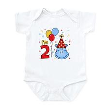 Blue Hippo Face 2nd Birthday Infant Bodysuit