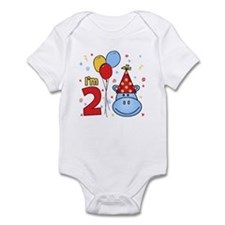 Blue Hippo Face 2nd Birthday Onesie