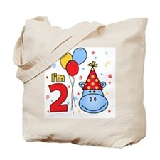 Blue Hippo Face 2nd Birthday Tote Bag