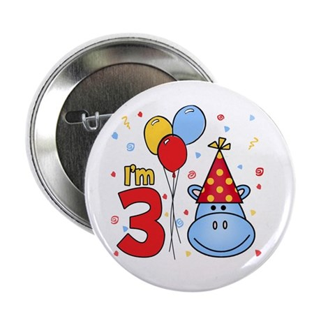 "Blue Hippo Face 3rd Birthday 2.25"" Button (100 pk)"