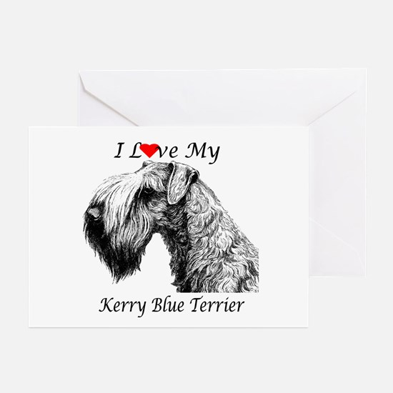 I Love My Kerry Blue-1 Greeting Cards (Package of