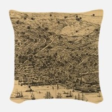 Vintage Pictorial Map of San F Woven Throw Pillow