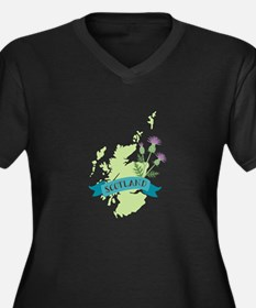 Scotland Country Map Thistle Flower Plus Size T-Sh