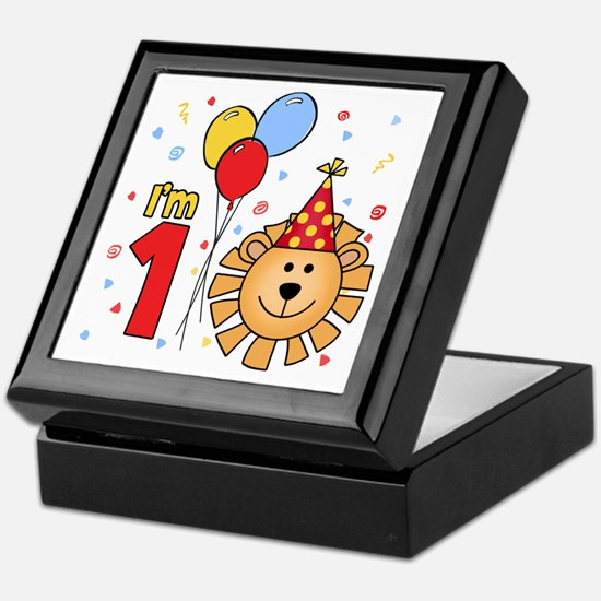 Cool Lion Face First Birthday Keepsake Box