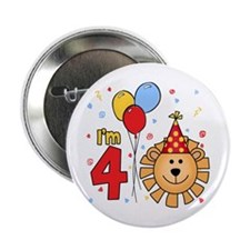 "Cool Lion Face 4th Birthday 2.25"" Button (100 pack"