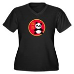 Panda Women's Plus Size V-Neck Dark T-Shirt