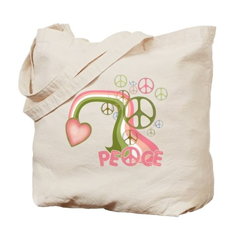 Peace And Love Rainbow Tote Bag
