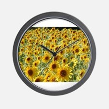 sunflowers in the breeze Wall Clock
