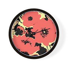 Abstract Poppies Wall Clock