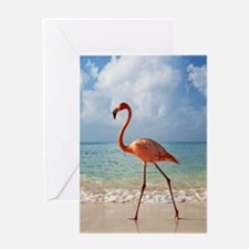 Flamingo On The Beach Greeting Cards