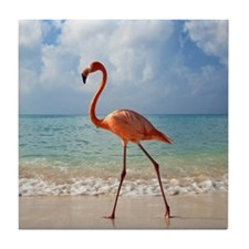 Flamingo On The Beach Tile Coaster