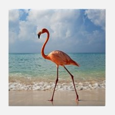 Flamingo On The Beach Tile Coaster