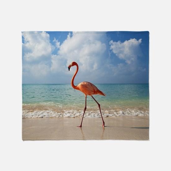 Flamingo On The Beach Throw Blanket