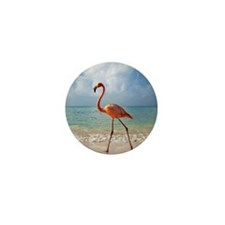 Flamingo On The Beach Mini Button (10 pack)