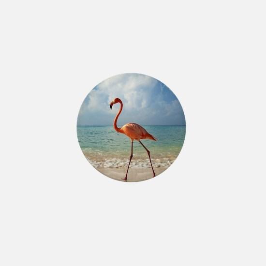 Flamingo On The Beach Mini Button