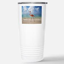 Flamingo On The Beach Travel Mug