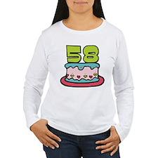 58 Year Old Birthday Cake Women's Long Sleeve Tee
