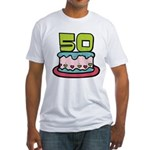 50 Year Old Birthday Cake Fitted T-Shirt