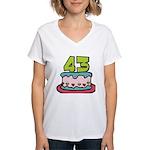 43 Year Old Birthday Cake Women's V-Neck T-Shirt