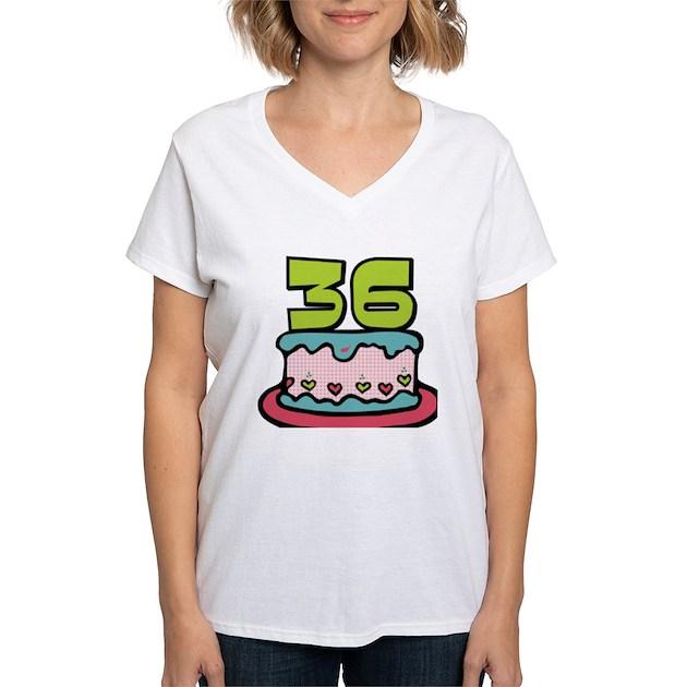 36 Year Old Birthday Cake Women's V-Neck T-Shirt 36 Year