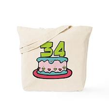 34 Year Old Birthday Cake Tote Bag