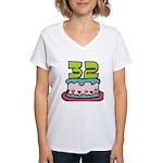 32 Year Old Birthday Cake Women's V-Neck T-Shirt