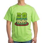 28 Year Old Birthday Cake Green T-Shirt