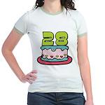 28 Year Old Birthday Cake Jr. Ringer T-Shirt
