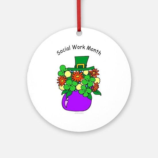 Social Work Month Vase Ornament (Round)