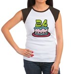 24 Year Old Birthday Cake Women's Cap Sleeve Tee