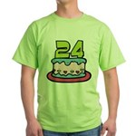 24 Year Old Birthday Cake Green T-Shirt