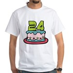 24 Year Old Birthday Cake White T-Shirt
