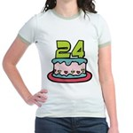 24 Year Old Birthday Cake Jr. Ringer T-Shirt