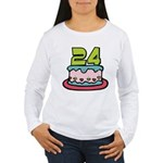 24 Year Old Birthday Cake Women's Long Sleeve Tee