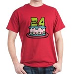 24 Year Old Birthday Cake Dark T-Shirt