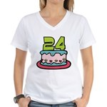 24 Year Old Birthday Cake Women's V-Neck T-Shirt