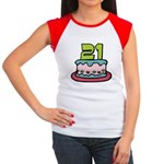 21 Year Old Birthday Cake Women's Cap Sleeve Tee