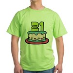 21 Year Old Birthday Cake Green T-Shirt
