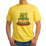 21 Year Old Birthday Cake Yellow T-Shirt